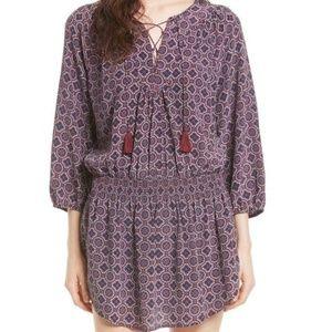 Joie Corra B Print Silk Blouson Dress.